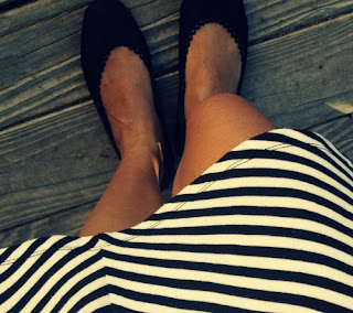 Black flats with black and white dress
