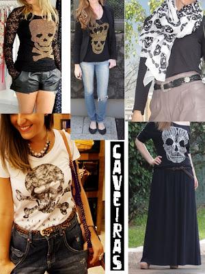 Inspirações e dicas para usar caveiras na moda feminina, em qualquer idade.