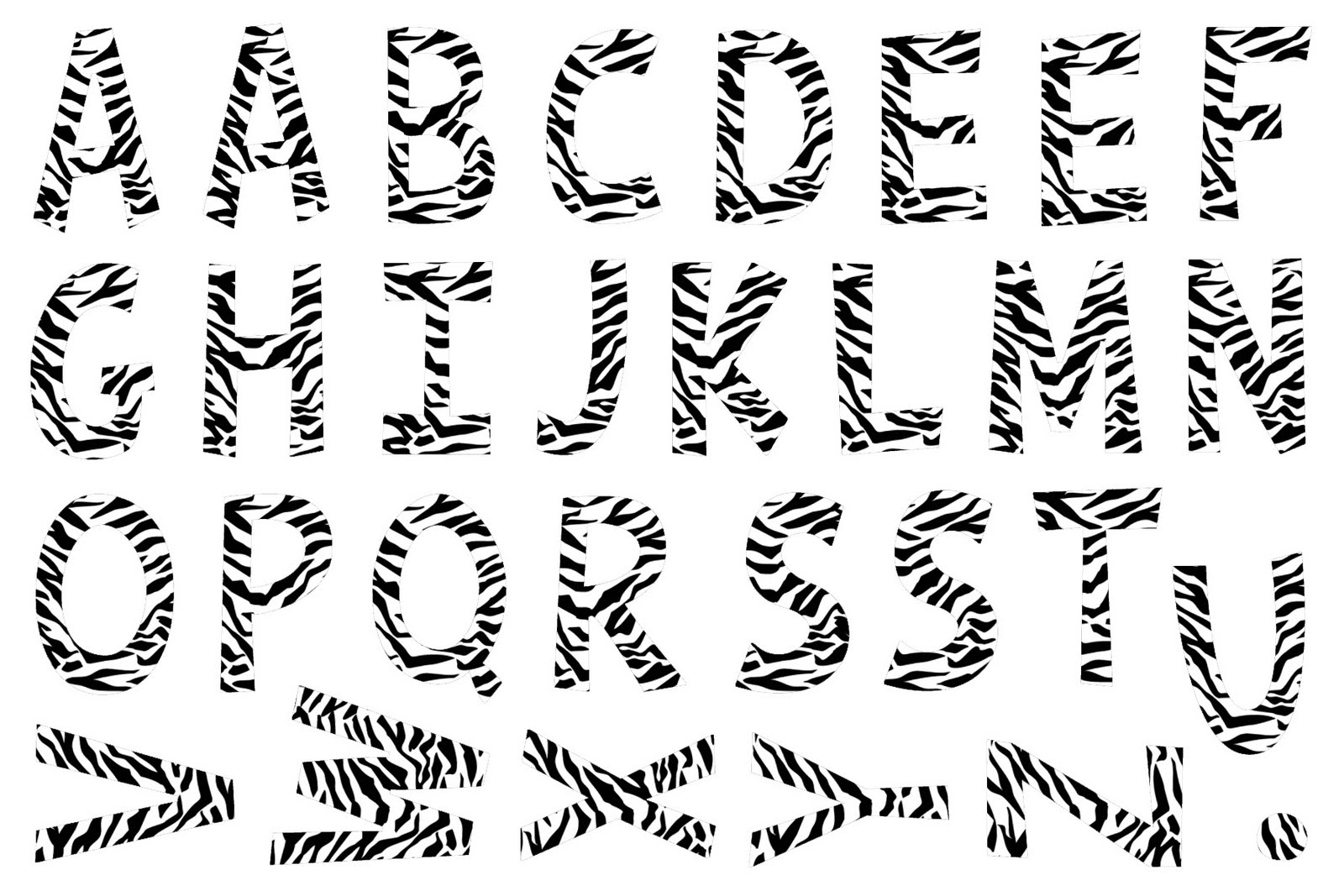 Free Letter N Zebra Print Coloring Pages