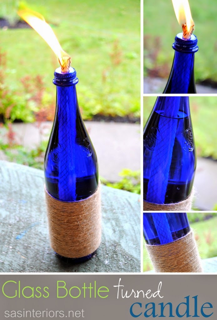 Glass bottle turned candle do it yourself ideas and projects for Diy crafts with glass jars and bottles