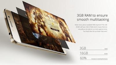 3Gb de memoria RAM y 16Gb de memoria interna tiene el UMI Rome.