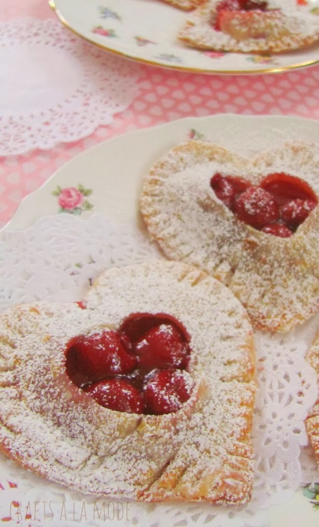 heart shaped cherry filled hand pies