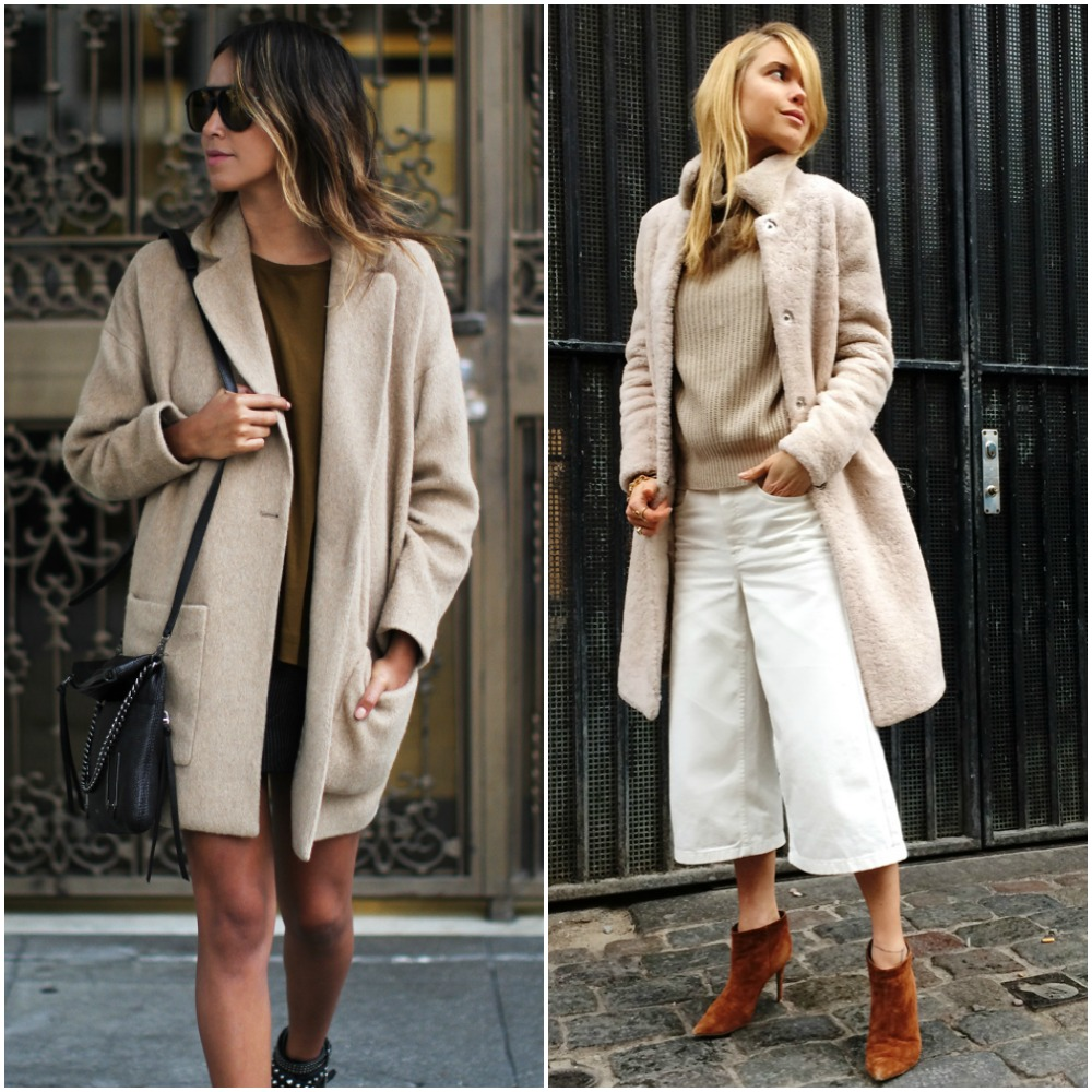 shades of camel nude beige brown - street style fashion trends - fashion bloggers style outfits - culottes - camel coat - boyfriend coat - teddy bear coat - ribbed sweater