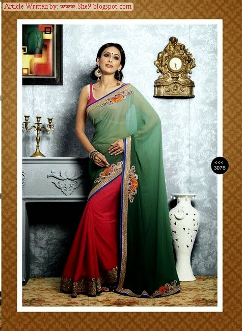 Silhouettes Designer Sarees with New Designs of Blouses