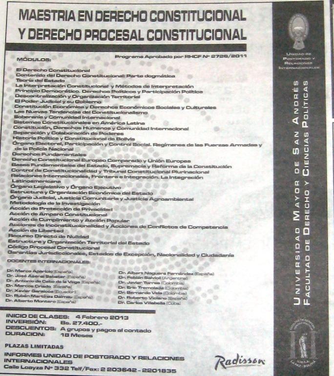 UMSA Maestria en Derecho Constitucional y Derecho Procesal ...