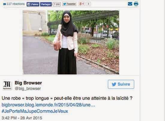 """في بلد """"الأنوار"""" فرنسا تمنع تلميذة مسلمة من الدراسة لأن تنورتها طويلة"""