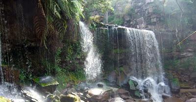the great waterfall at Cambodia National Park at Kampot