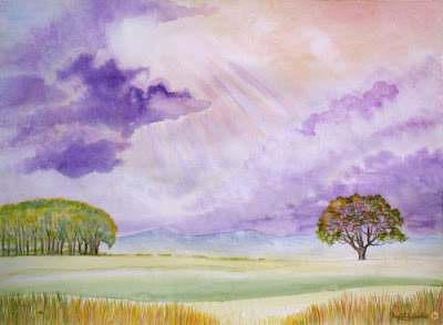 Majestic Skies Towers by North East artist Ingrid Sylvestre watercolour North East art for sale Durham artists Ingrid Sylvestre SOLD