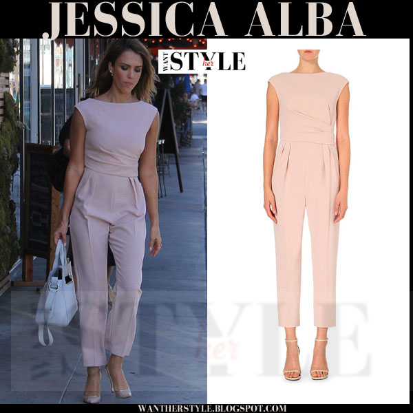 Jessica Alba in pale pink blush crepe jumpsuit Max Mara Derna what she wore streetstyle