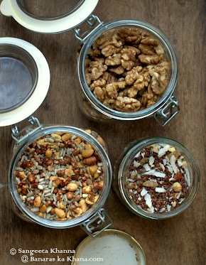 easy to make trail mixes for Navratri fasting and healthy snacking | recipes of 3 trail mixes using popped amaranth, fox nuts and assorted seeds and nuts