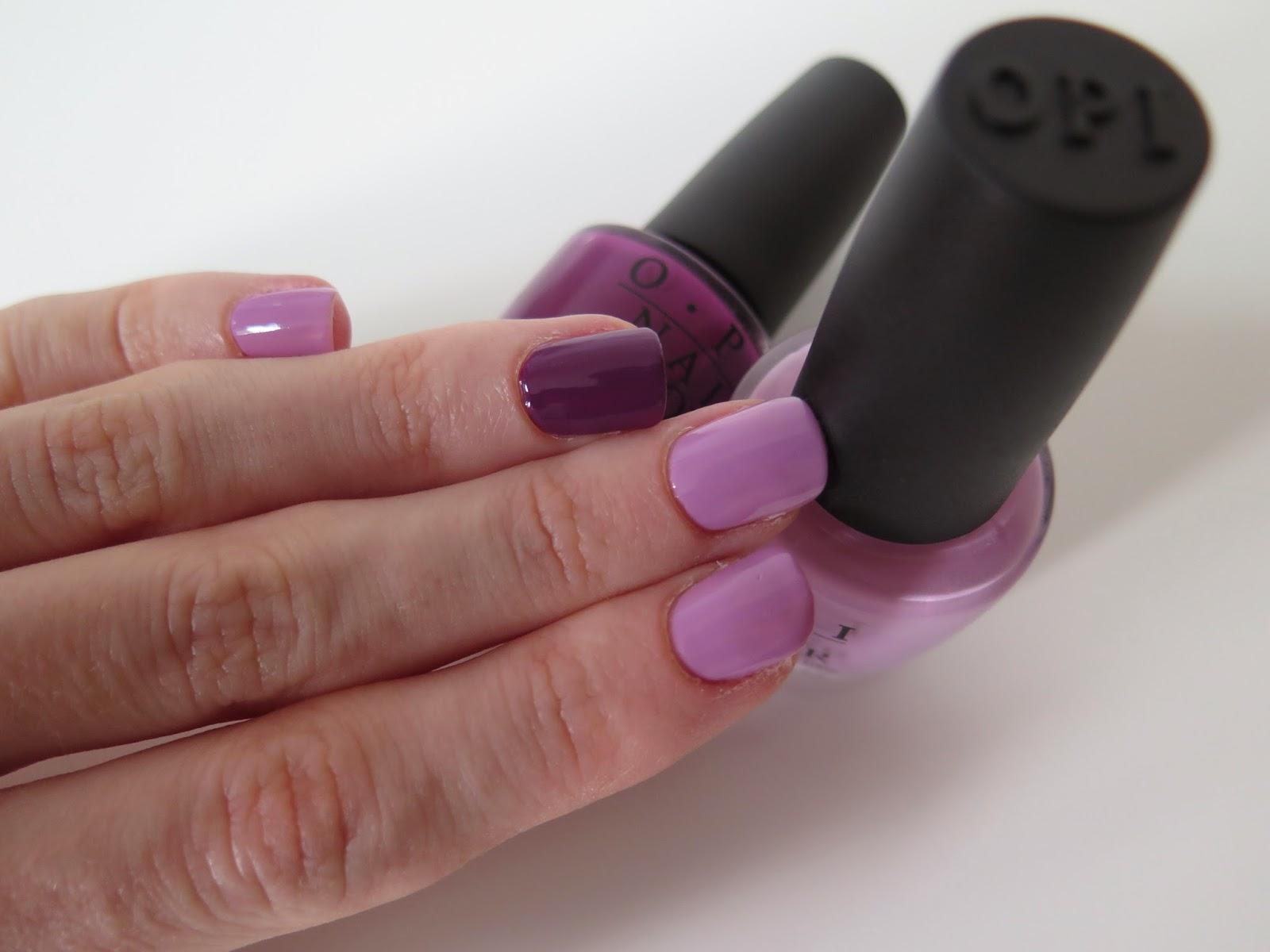 purple nails, OPI, pamplona purple, lucky lucky lavender