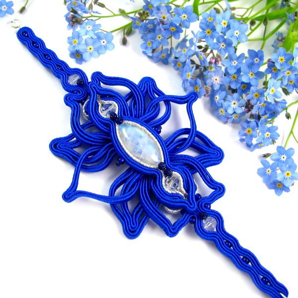 Soutache ślubny - szeroka bransoleta dla panny młodej