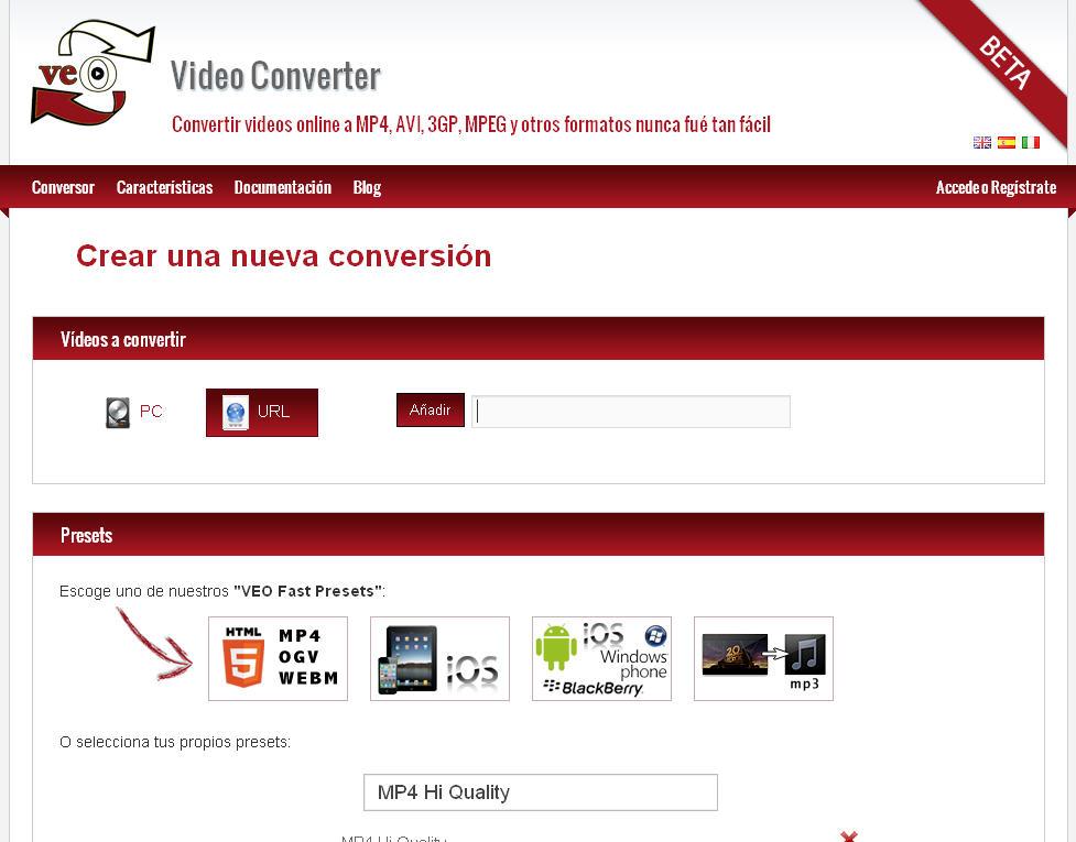 Conversor online de vídeos