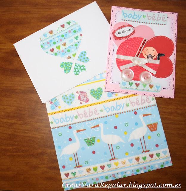 tarjeta baby shower con servilletas de papel