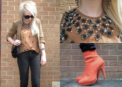 Sammi Jackson - Orange boots & sequins