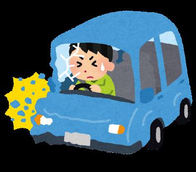 車の交通事故のイラスト(男性)
