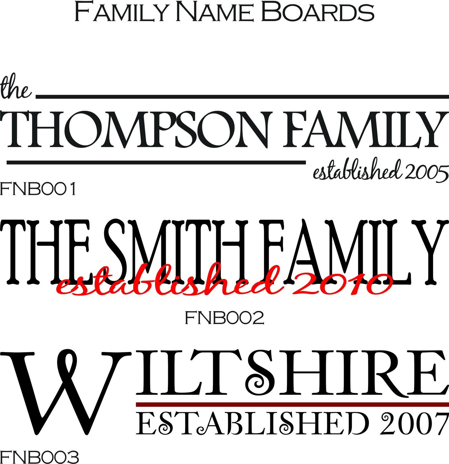 Family Name Boards
