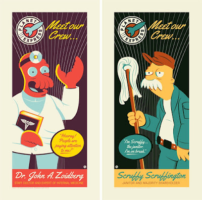 "Futurama ""Zoidberg"" & ""Scruffy"" Screen Prints by Dave Perillo"