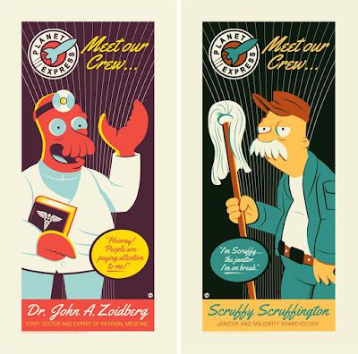 """Futurama """"Zoidberg"""" & """"Scruffy"""" Screen Prints by Dave Perillo"""