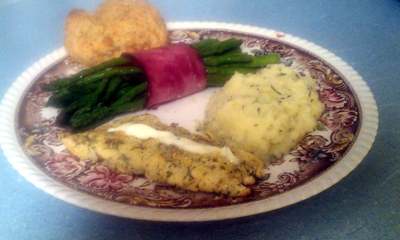Kissing the cook cornmeal crusted baked fish buttermilk for Side dishes for baked fish