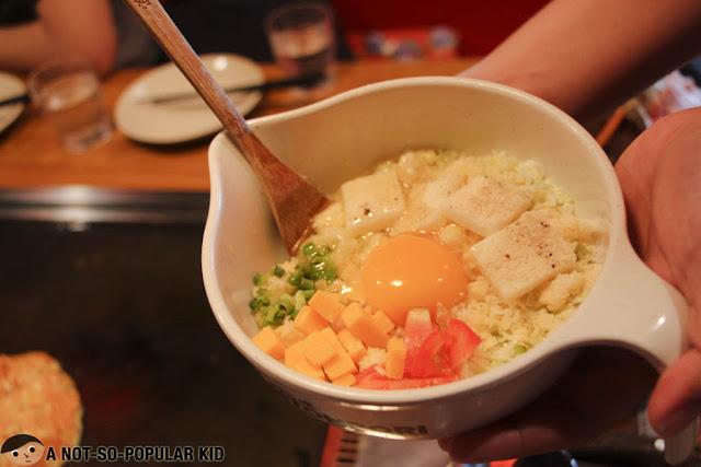 Dohtonbori's Four Cheese Okonomiyaki