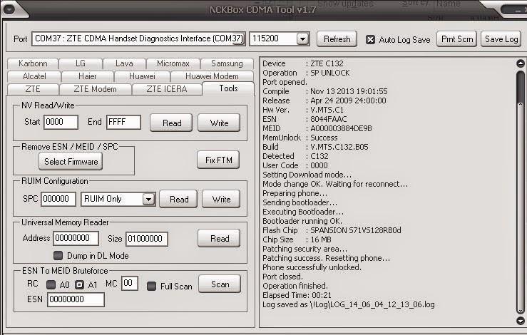 ZTE C S1602 UNLOCK CODE