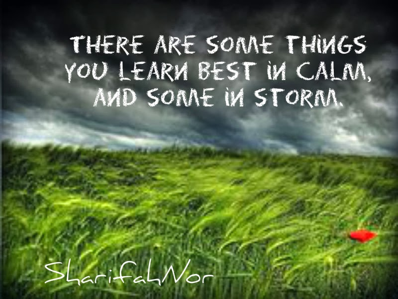 There are some things you learn best in calm