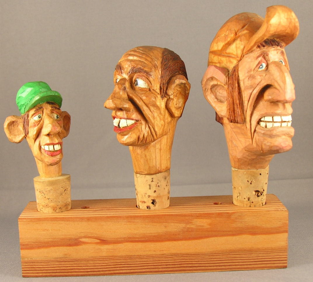 Wood caricatures and spirits first