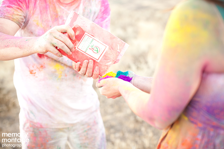 Engagement photos with color powder - Kanhaiya Holi Powder