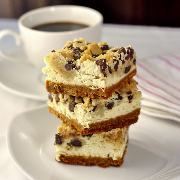 Chocolate Chip Cookie Dough Cheesecake Bars Recipe — Dishmaps