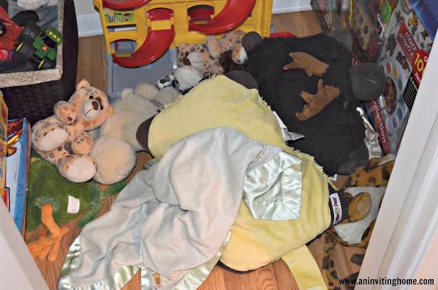 stuffed animals in the closet