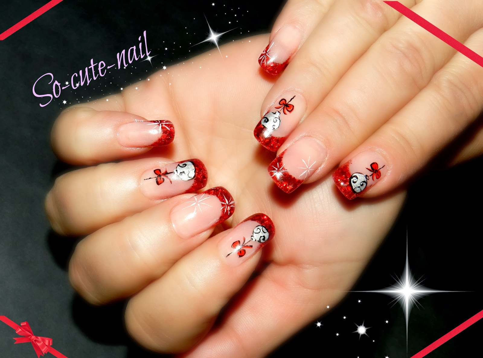 Nail art noel inspiration cherry nailart so cute nail - Nail art noel facile ...