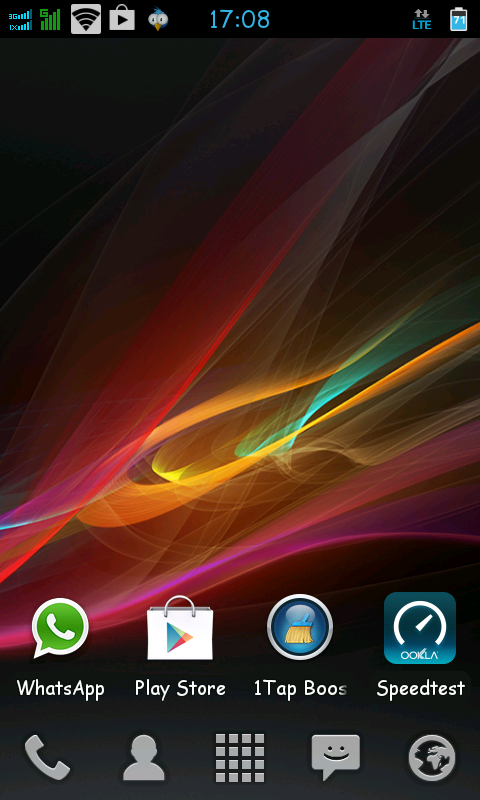 Tampilan home screen dengan wallpaper xperia