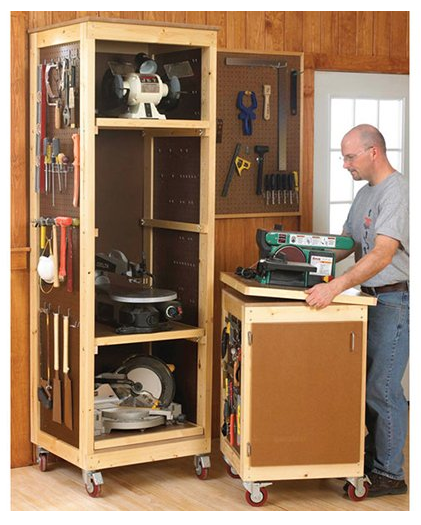 Woodshop tool storage system project the project lady - Small workshop storage ideas ...