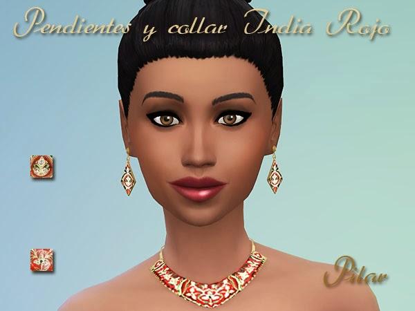 15-09-2014 Pendientes y collar  India Rojo