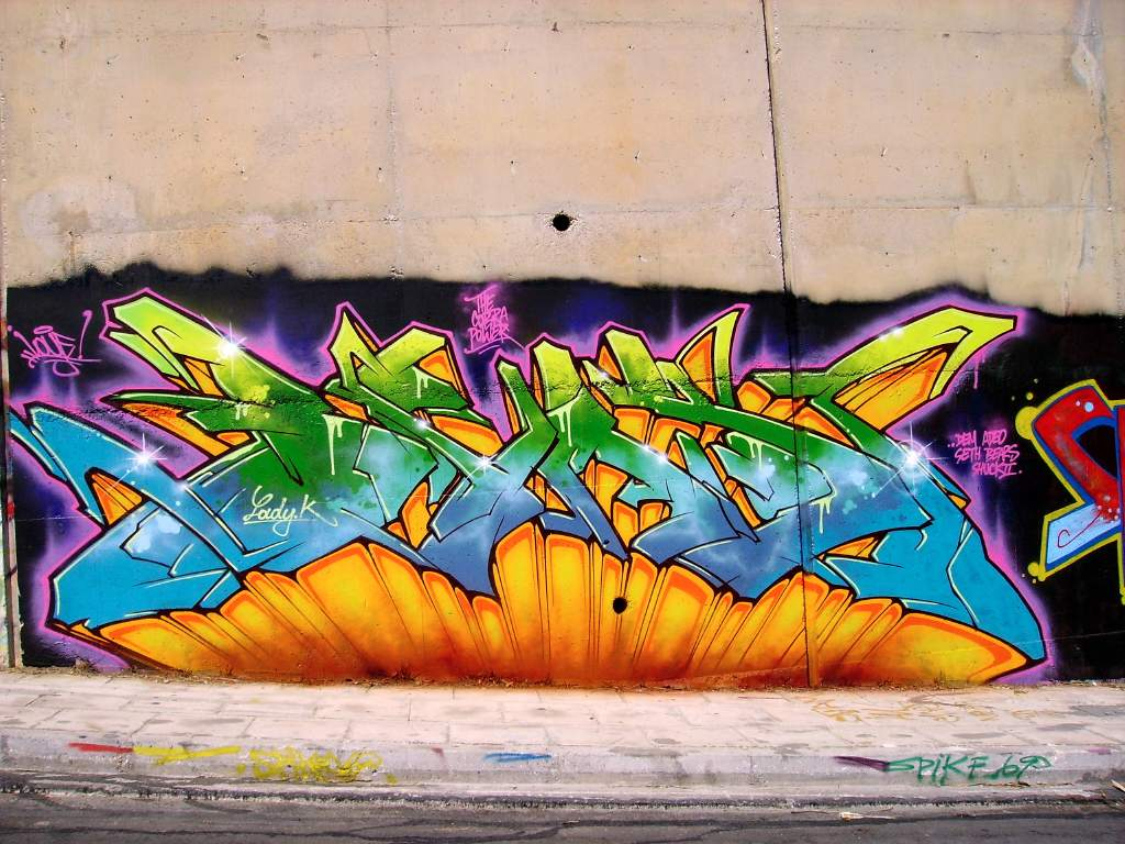 Colorful 3d graffiti wall with wildstyle design