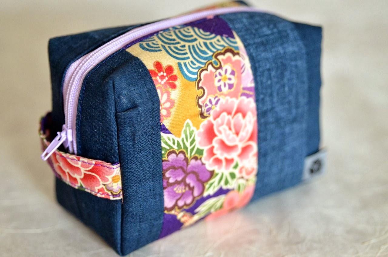 Kosmetiktäschchen SAGANO Kameratasche Schminktäschchen aus japanischen Stoffen von NORIKO handmade, Japan, Design