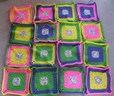 Crocheted Bright Squares Baby Blanket