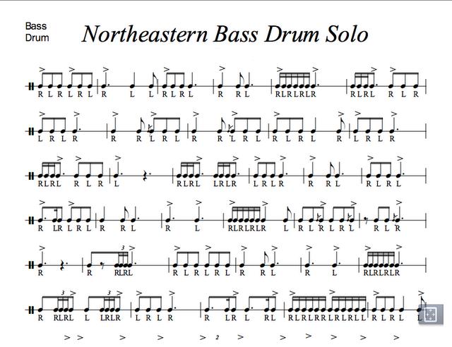 Аппликатура соло для басового барабана