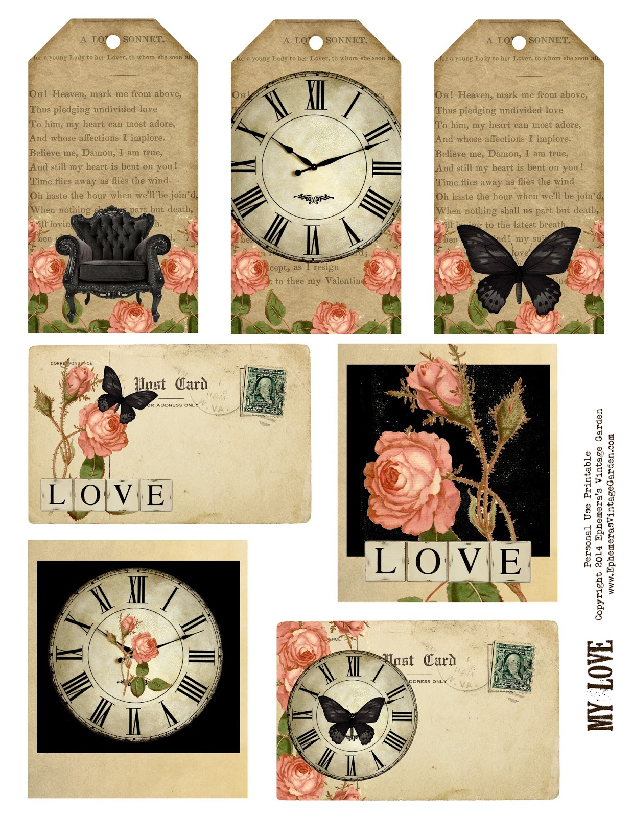 Ephemera s vintage garden free weekly printable vintage love