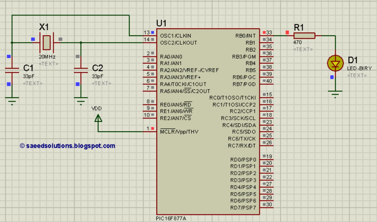 Pic16f877a Led Blinking Code Proteus Simulation Saeeds Blog Basic Integer Calculator At89c51