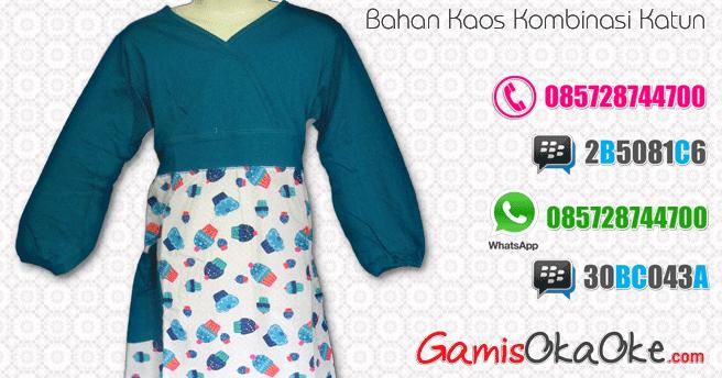 Baju muslim anak perempuan warna putih kombinasi biru Baju gamis putih murah
