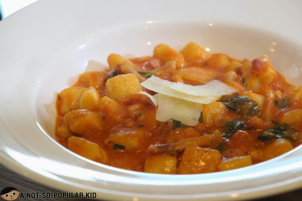 Gnocchi Amatriciana Italian Pasta dish here in Il Ponticello
