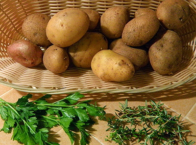 Basket of Potatoes, Fresh Parsley and Fresh Rosemary