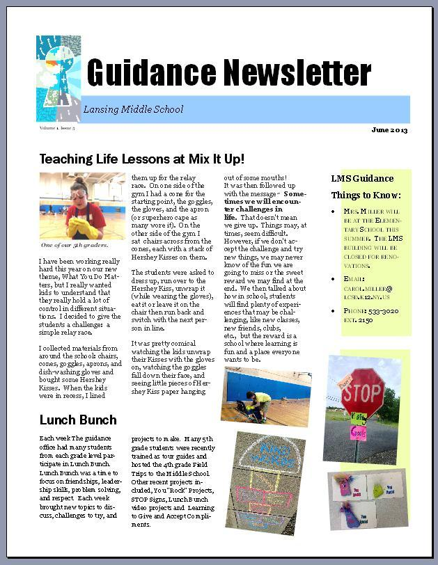 high school newsletter examples