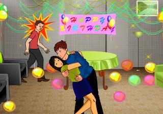 Juego de amor y besos en el cumpleaños