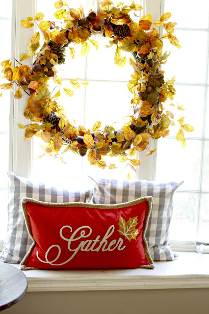 Large fall wreath with TJMaxx Gather pillow-www.goldenboysandme.com