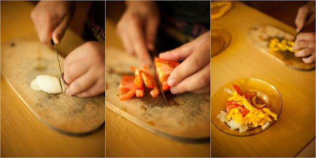 тонко режем овощи для омлета