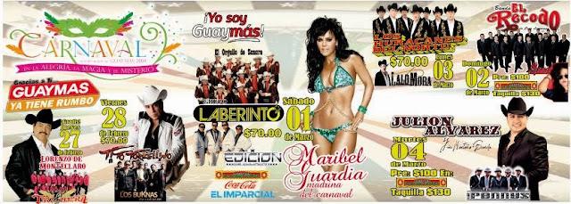 Cartelera del Carnaval de Guaymas 2014