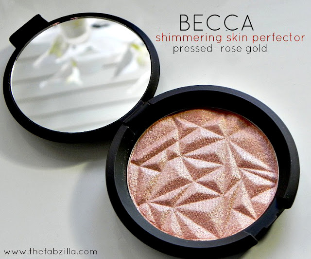 review becca shimmering skin perfecter pressed-rose gold, swatch becca